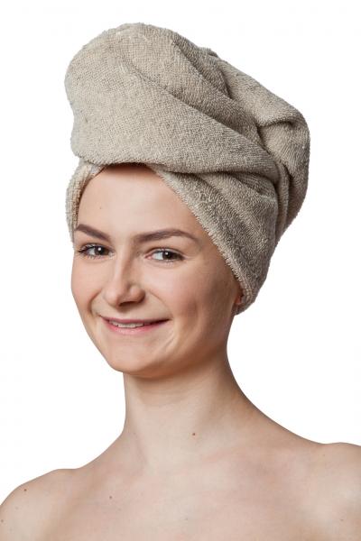 Haar Turban aus Leinen Frottee Natur