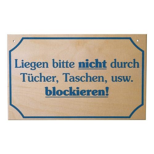 Sauna Schild Liegen nicht blockieren!