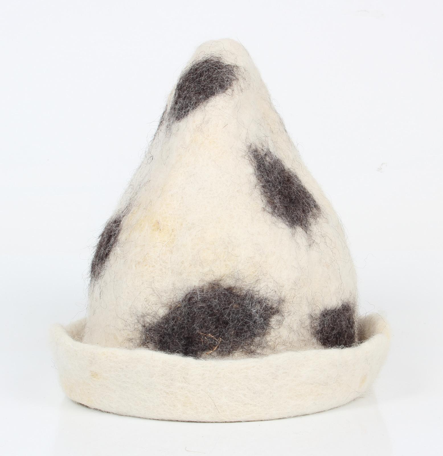 Saunahut handgefilzt natur Wolle