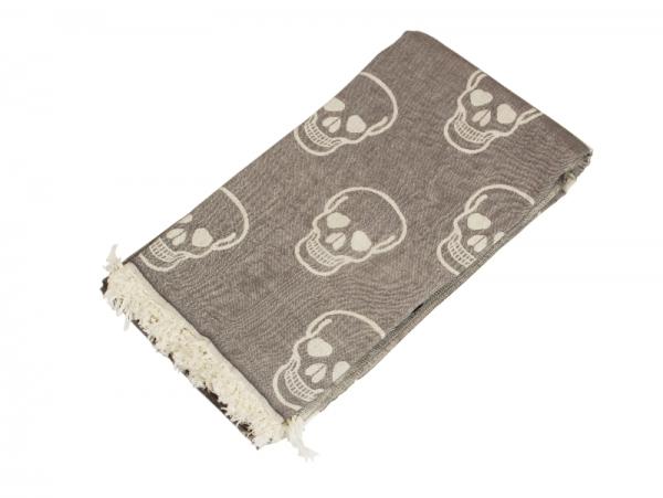 Saunatuch Totenkopf Piraten Tuch Grau