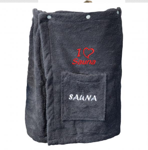 Saunakilt bestickt mit I Love Sauna