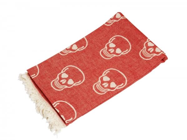 Saunatuch Totenkopf Piraten Tuch Rot