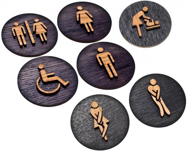 WC Schilder aus Holz Eiche