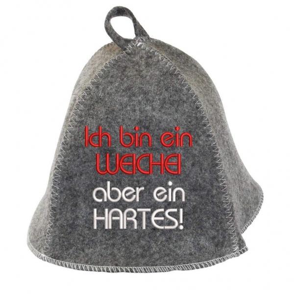 """Saunhut """"Hartes Weichei"""" aus Soft-Filz"""