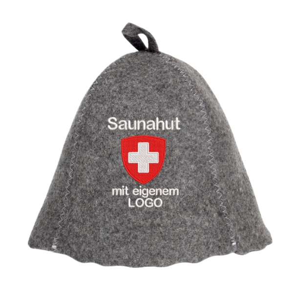 Saunahut Easy Grey mit Logo