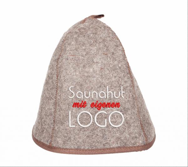 Saunahut mit eigenen Logo besticken