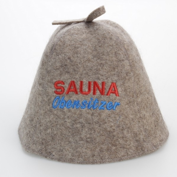 """Saunahut """"Saunaobensitzer"""" aus 100% Wolle"""