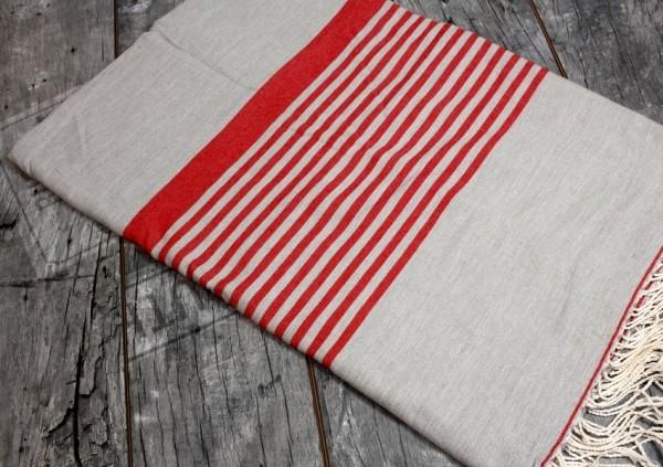Fouta Strandtuch Überwurf Rot Grau 300x200cm