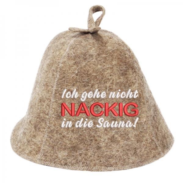 """Saunahut """"Nackig in die Sauna"""" aus 100% Wolle"""
